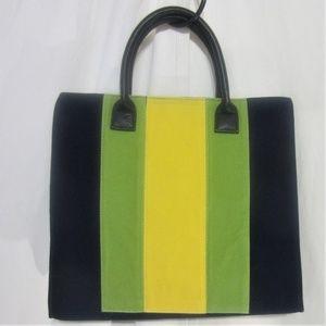 LULU DHARMA LARGE HAND BAG, STRIPED YEL/GRE/ BLU